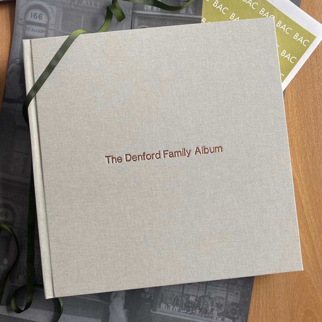 Contemporary Misty Blue Linen Photo Album