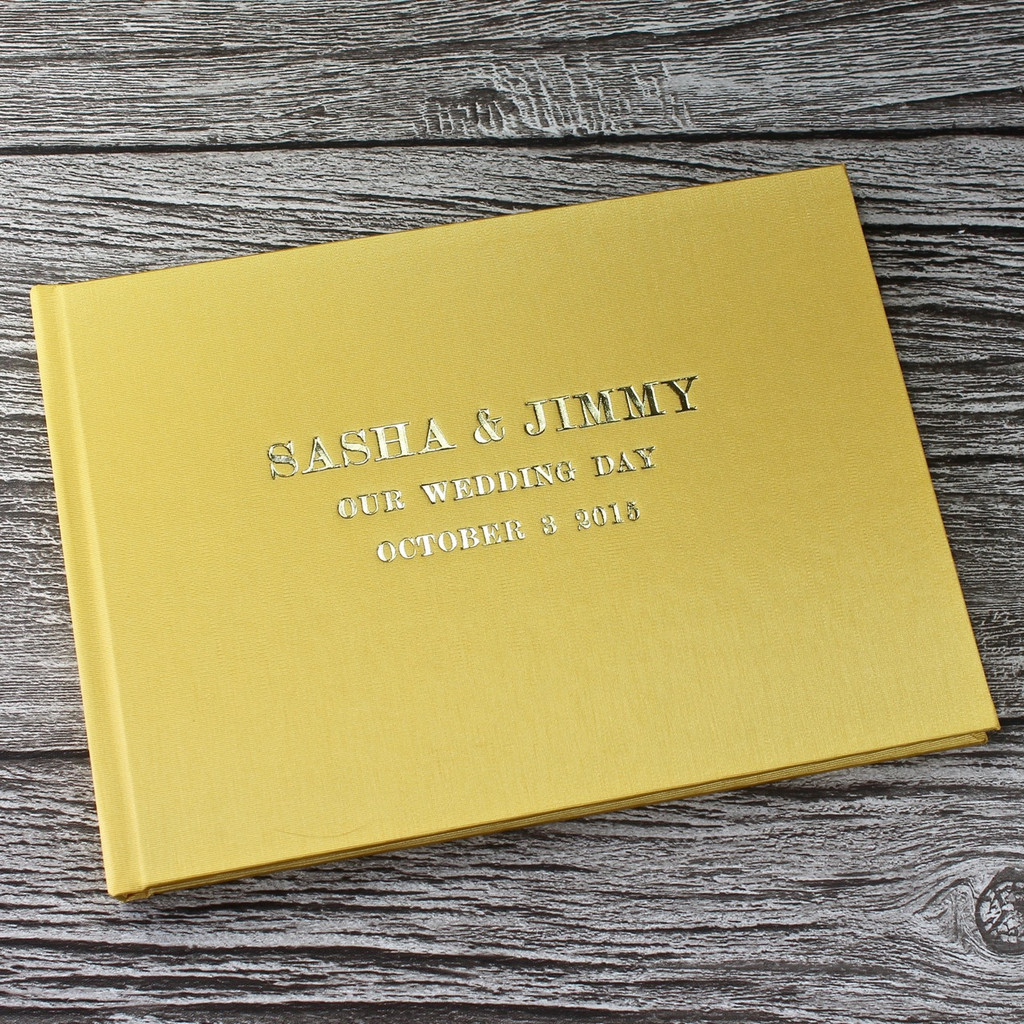 Yellow Satin Wedding Guest Book