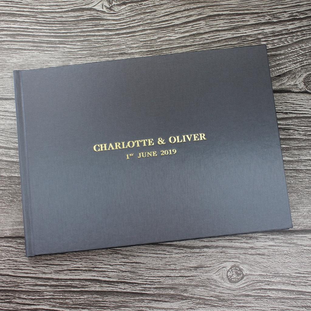 Silver Grey Satin Wedding Guest Book