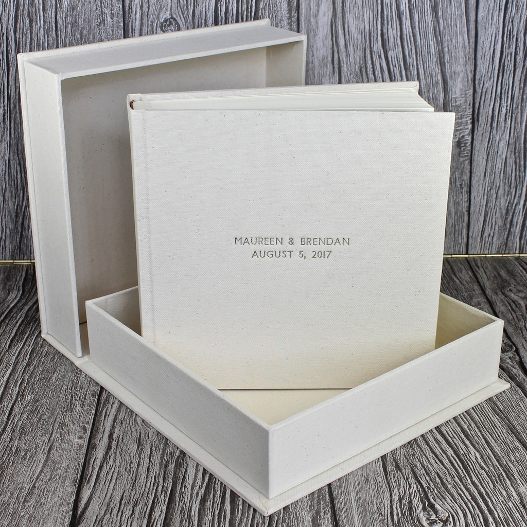 Ivory Linen Clamshell Box (Box Only)