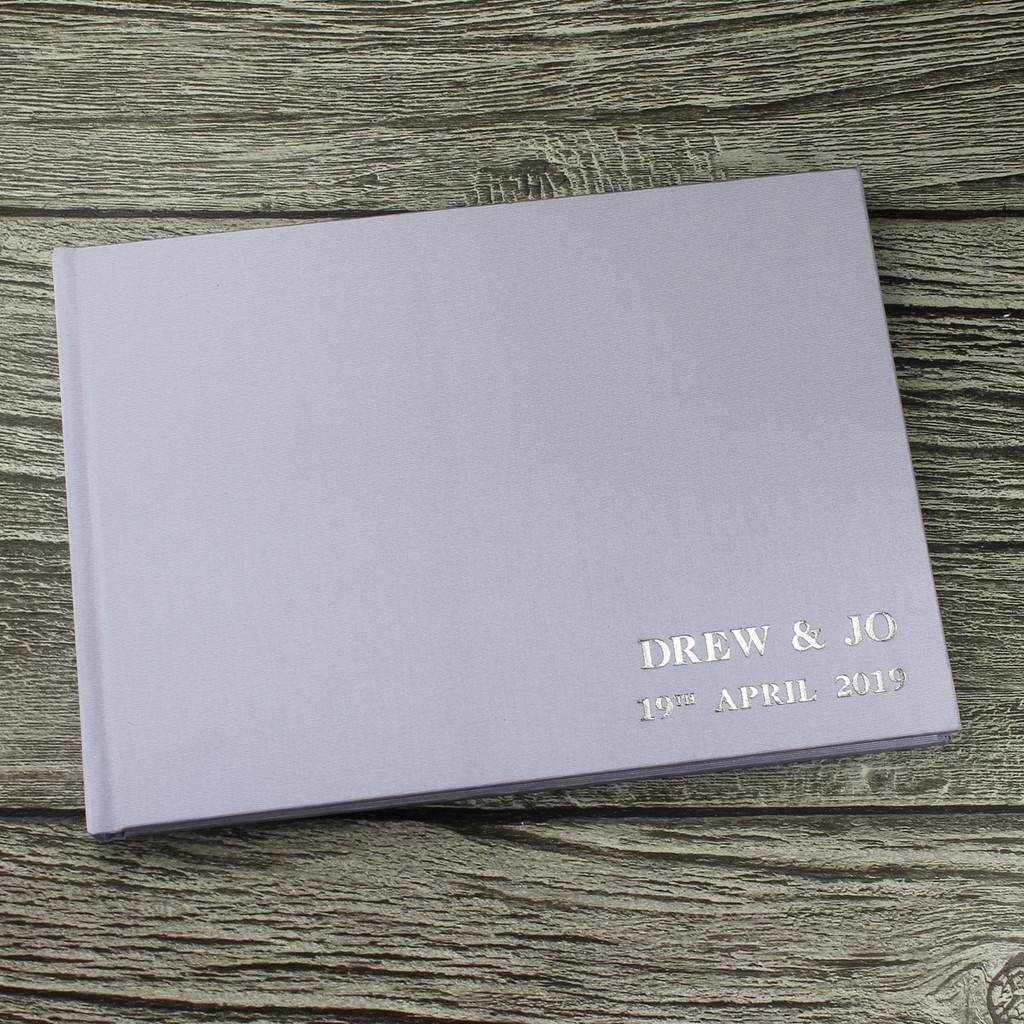 Lilac Satin Wedding Guest Book