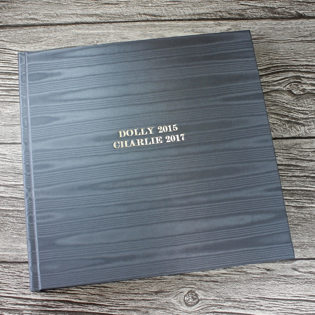 Silver Grey Moiré Satin Taffeta Photo Album