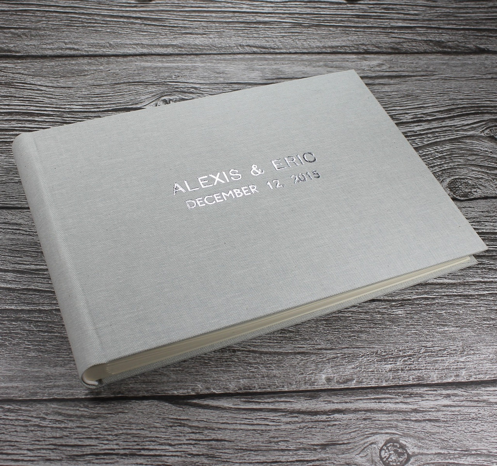 Misty Blue Linen Photo Booth Guest Book