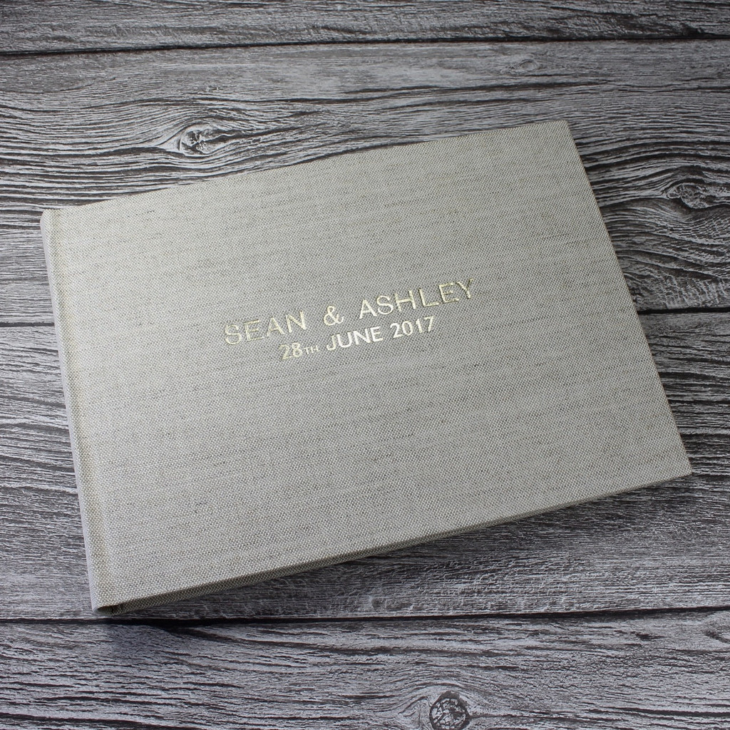 Natural Oatmeal Linen Photo Booth Guest Book