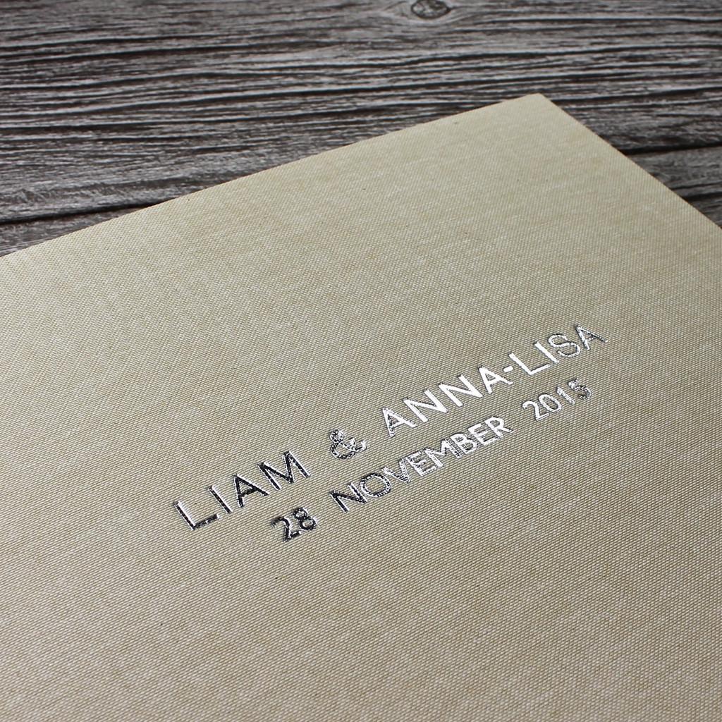 Sand Linen Wedding Guest Book