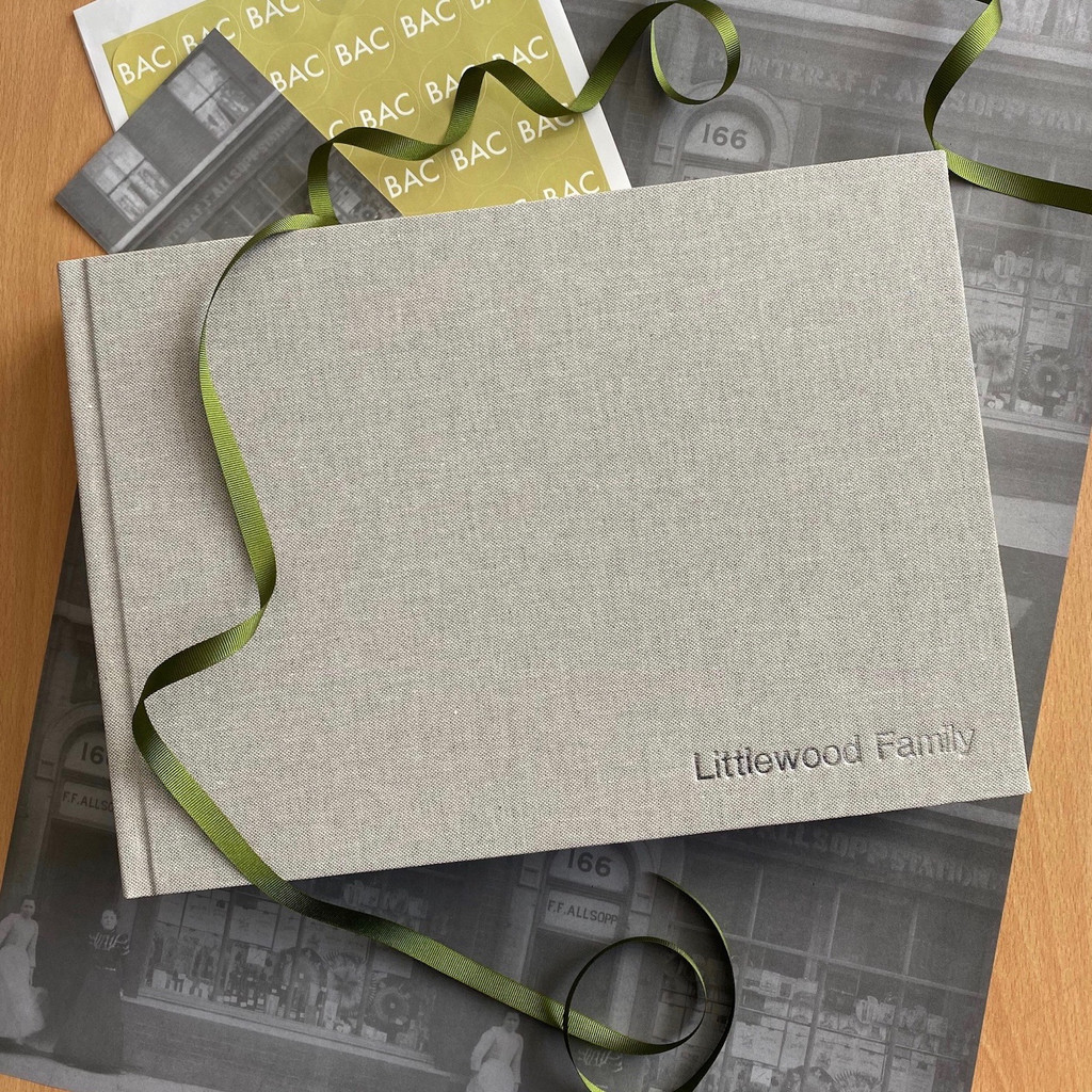 Contemporary Grey Marl Linen Photo Album