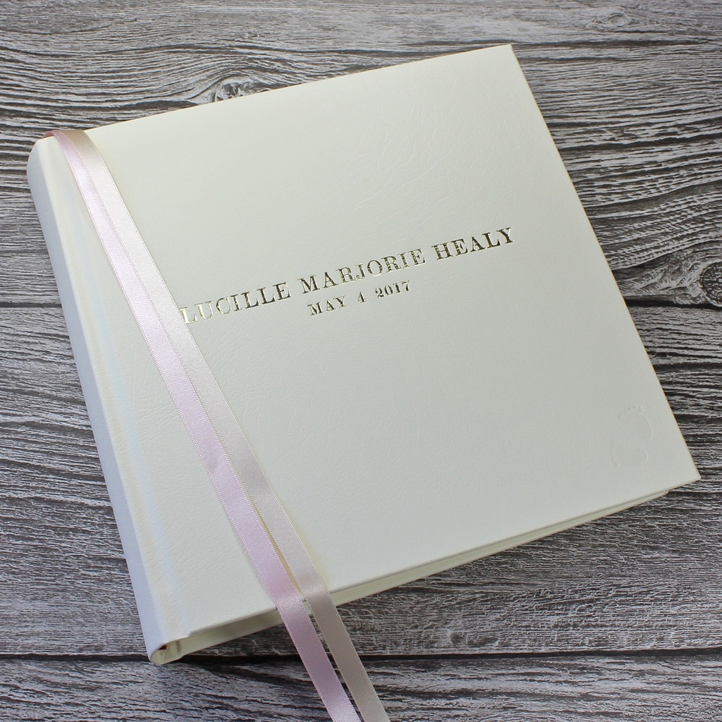 Ivory Leather Baby Girl Photo Album - Pink & Ivory