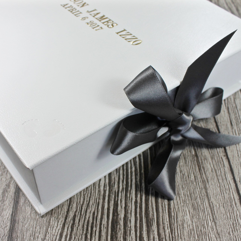 White Leather Baby Boy Keepsake Memory Box - Grey Ribbon Tie