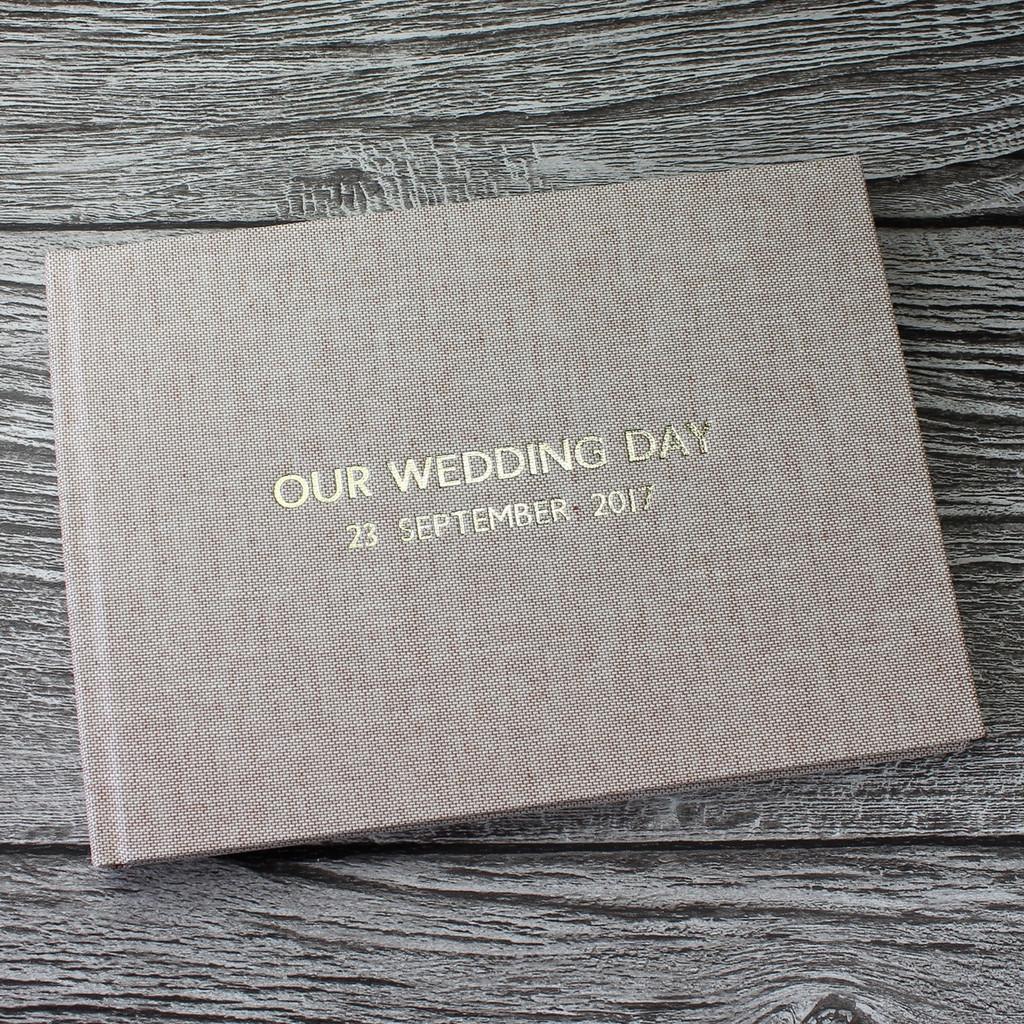 Peach Blush Linen Wedding Guest Book