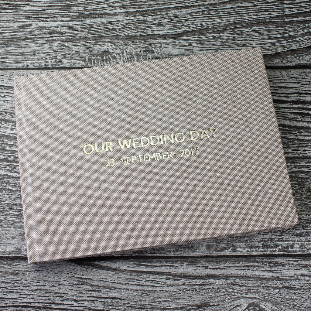 Peach Blush Linen Wedding Guest Book