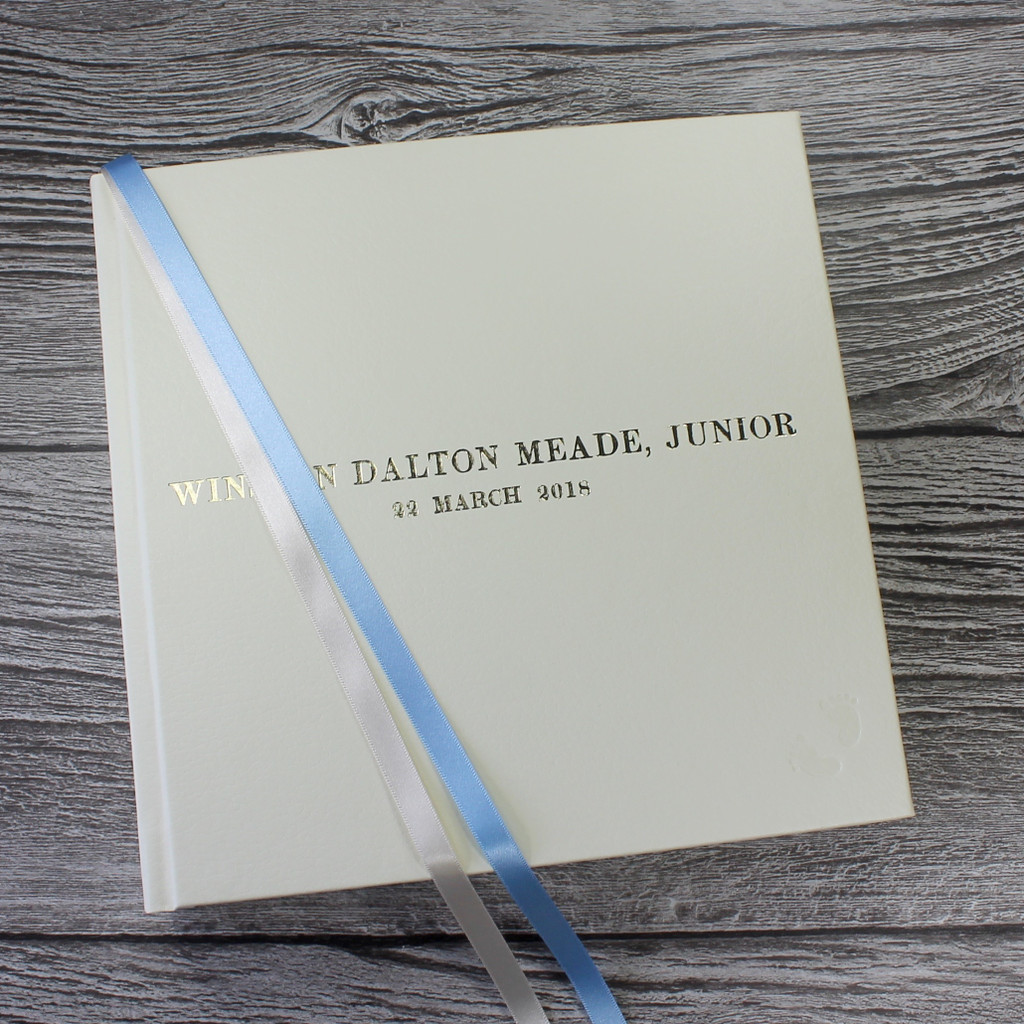 Ivory Leather Baby Boy Memory Record Book - Blue & Ivory