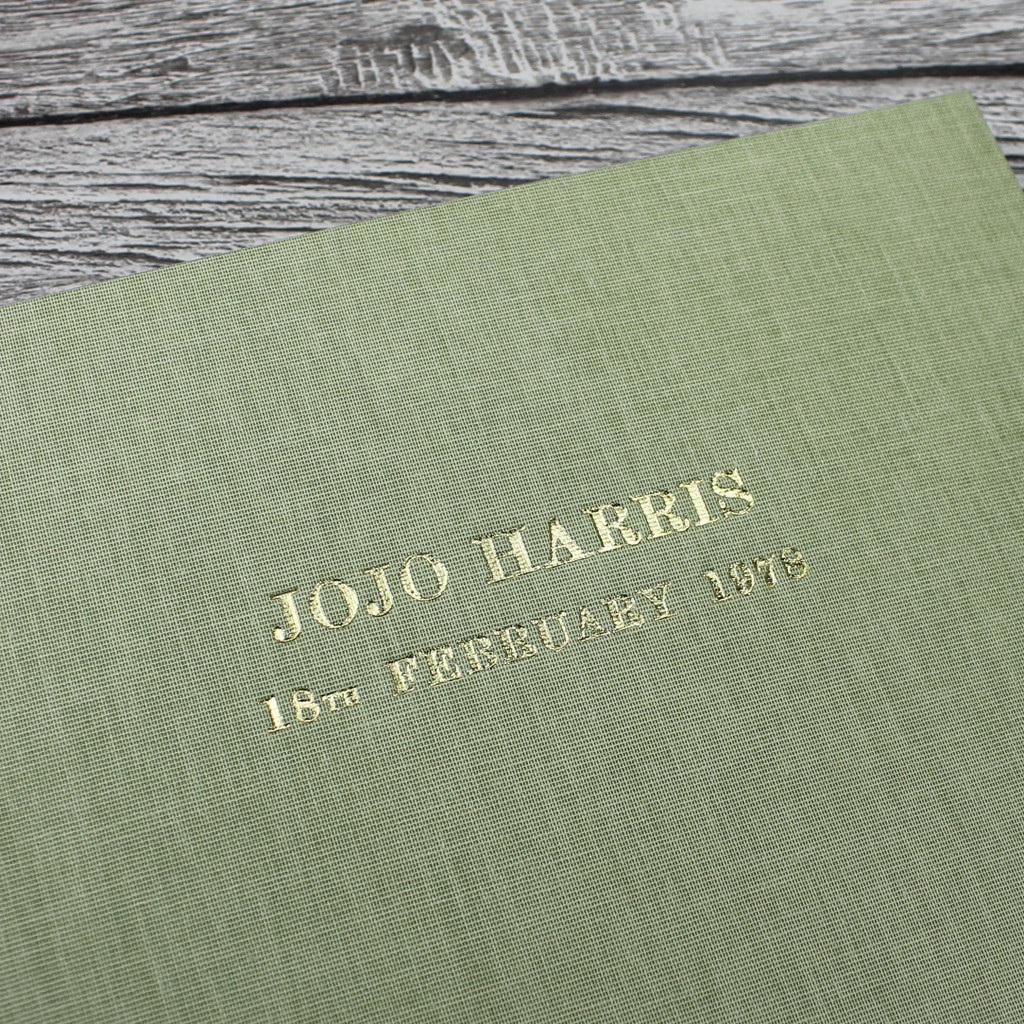 Sage Green Linen Wedding Guest Book