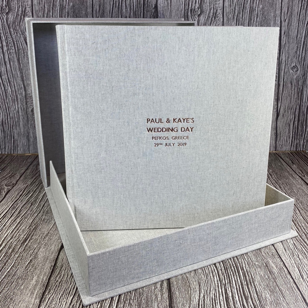 Grey Marl Linen Clamshell Box (Box Only)