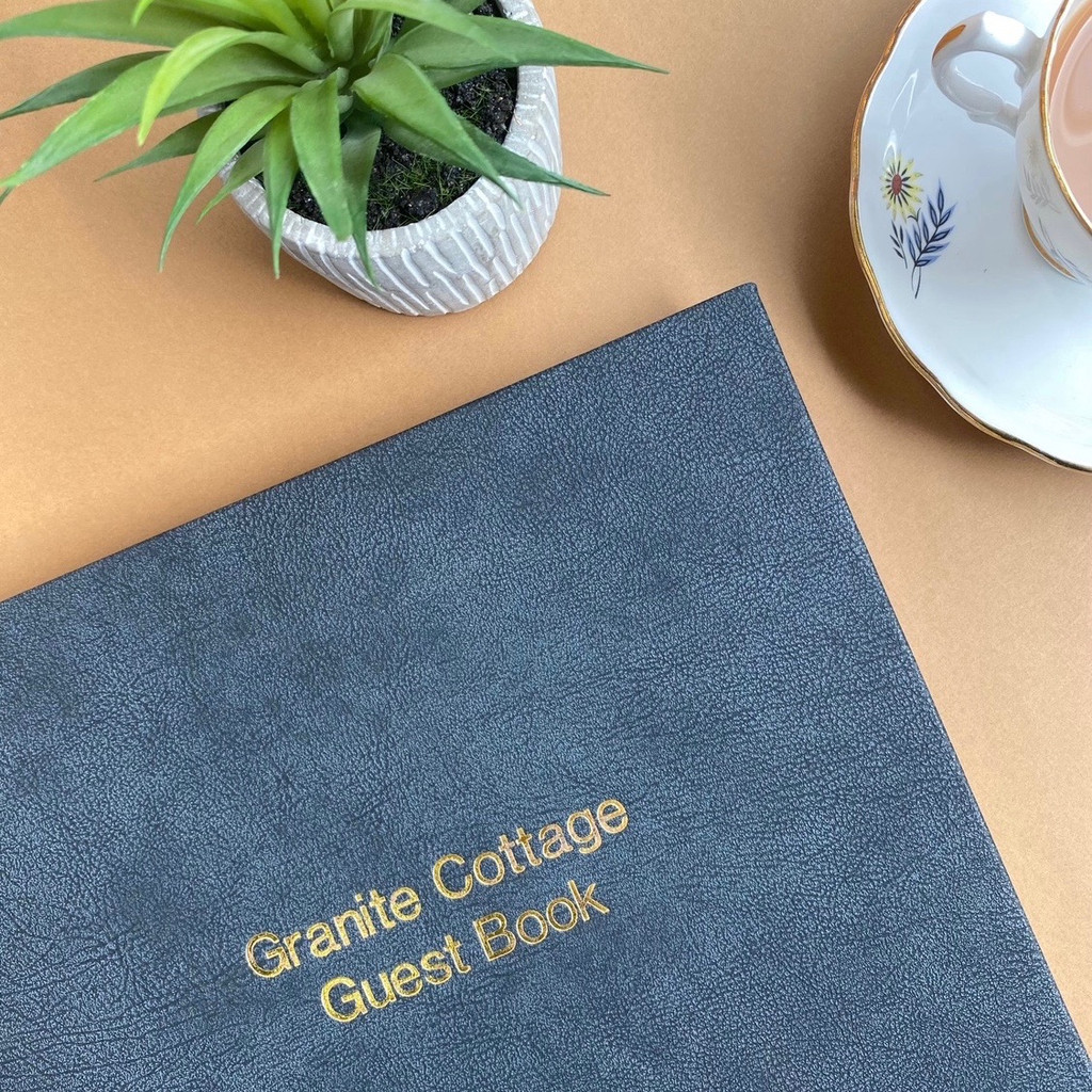 Visitor Guest Book - Granite Grey Vintage Effect Leather