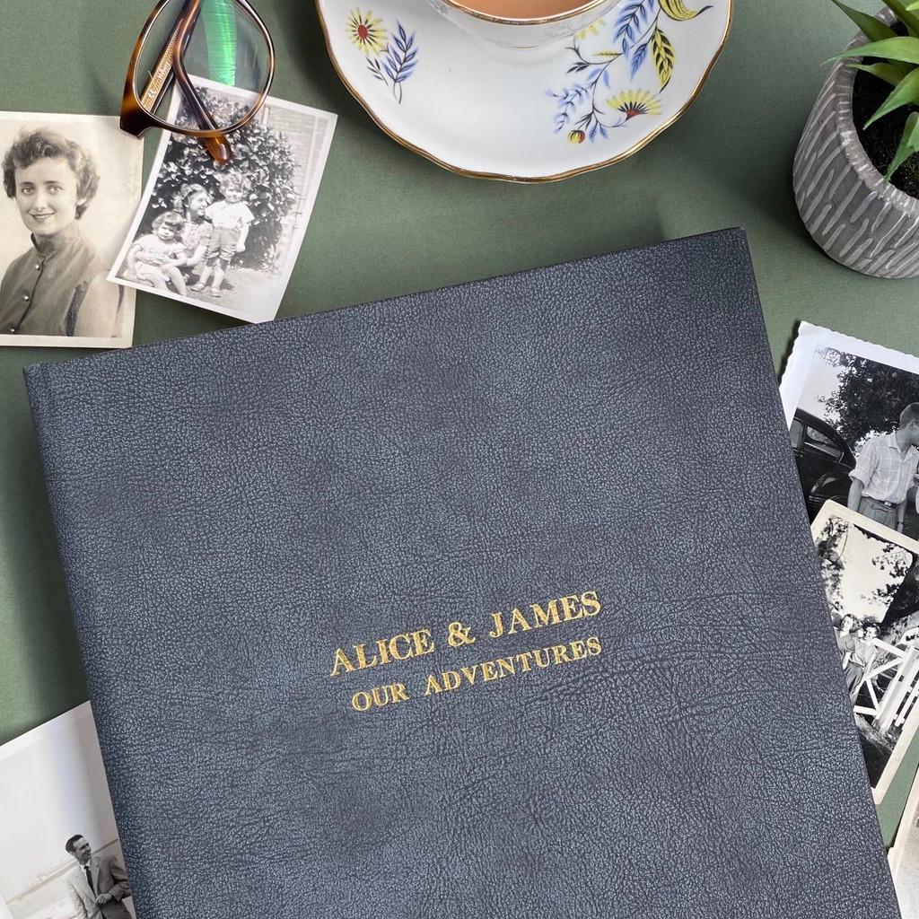 Traditional Granite Grey Vintage Leather Photo Album