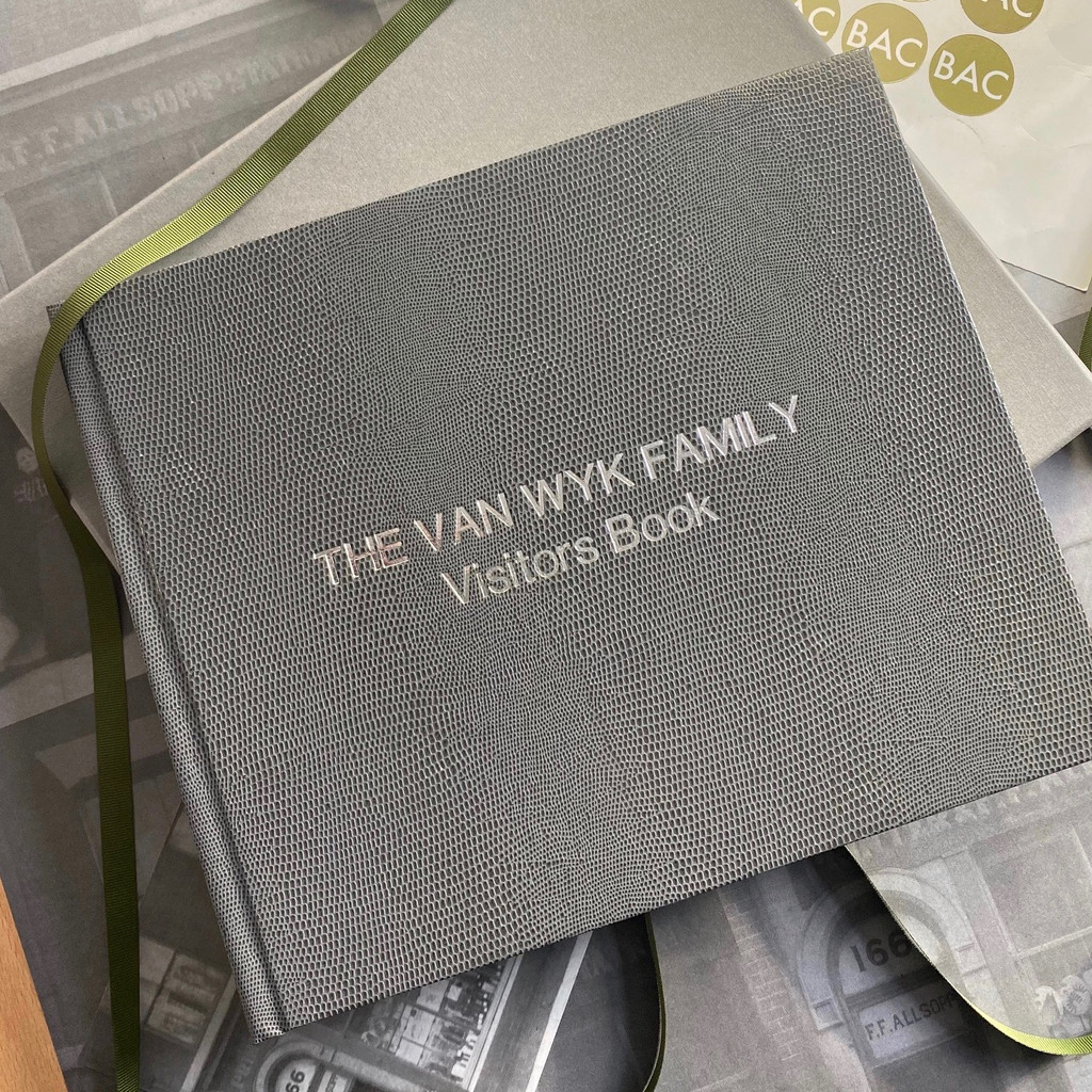 Visitor Guest Book - Grey Lizard Effect Finish