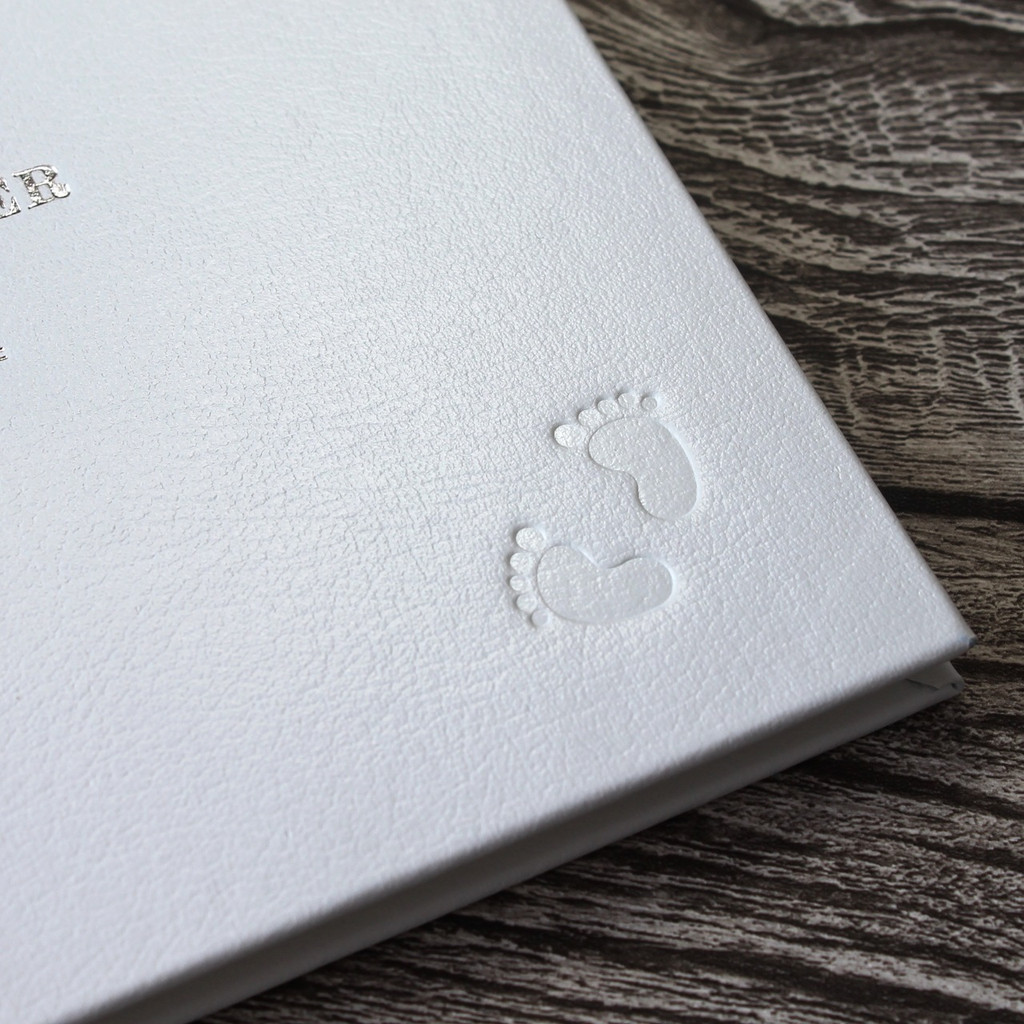 Personalised White Leather Baby Shower Guest Book