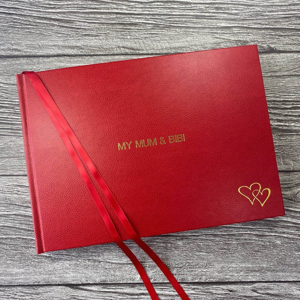 Traditional Classic 'Love Hearts' Red Leather Photo Album