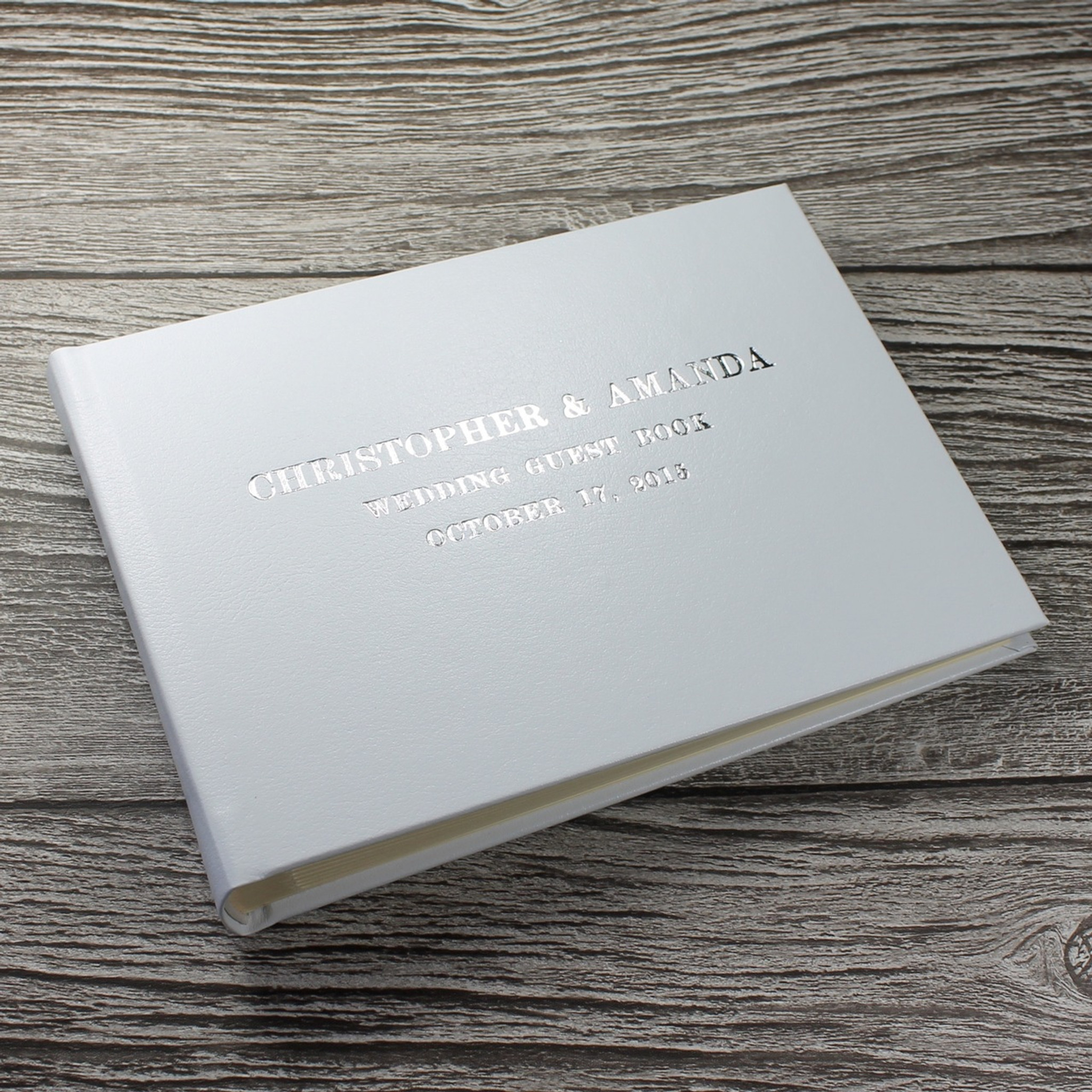 White Leather Photo Booth Guest Book Bespoke Album Company