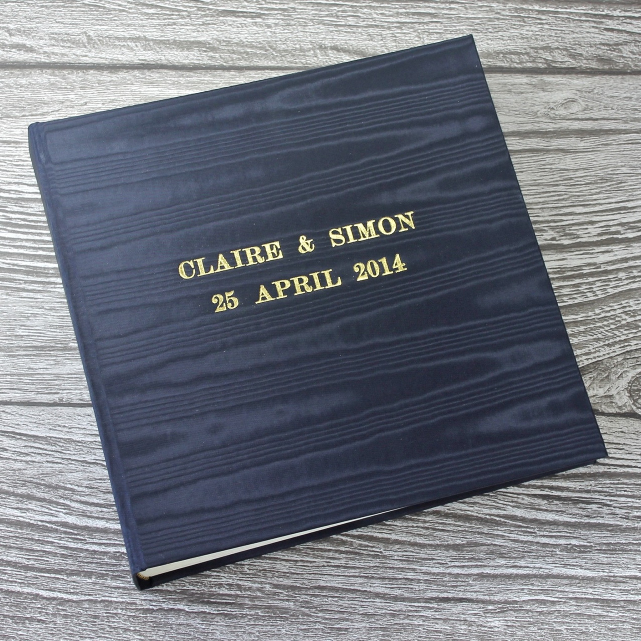 Navy Moire satin wedding photo album