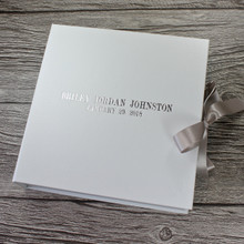 White Leather Baby Keepsake Memory Box - Silver Ribbon Tie
