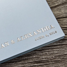 Pale Blue Satin Wedding Guest Book