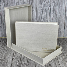 Natural Oatmeal Linen Clamshell Box (Box Only)
