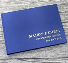 Midnight Blue Satin Wedding Guest Book