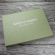 Sage Green Linen Photo Booth Guest Book