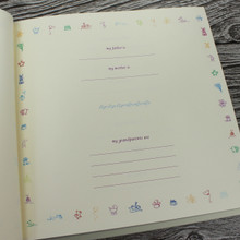 White Leather Baby Boy Memory Record Book - Blue & White