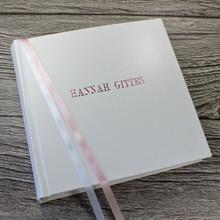White Leather Baby Girl Photo Album - Pink & White