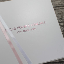 White Leather Baby Girl Memory Record Book - Pink & White