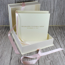 Ivory Leather Baby Girl Keepsake Memory Box - Pink Ribbon Tie