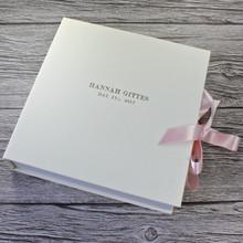 Ivory Leather Baby Girl Keepsake Memory Box - Pink Ribbon Tie