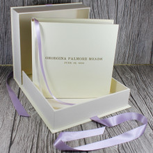 Ivory Leather Baby Girl Keepsake Memory Box - Lilac Ribbon Tie