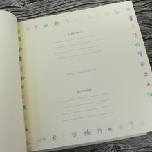 Ivory Leather Baby Girl Memory Record Book - Lilac & Ivory