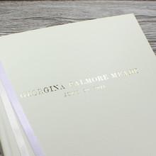 Ivory Leather Baby Girl Photo Album - Lilac & Ivory