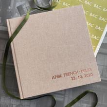 Contemporary Peach Blush Linen Photo Album