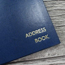 Personalised Address Book  - Royal Blue Lizard Effect Finish