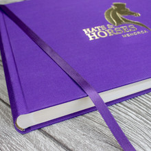 Hats & Horses Purple Linen Photo Booth Guest Book