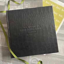 Traditional Classic Black Caiman Effect Leather Photo Album