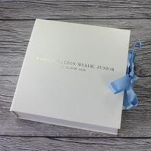 Ivory Leather Baby Boy Keepsake Memory Box - Blue Ribbon Tie