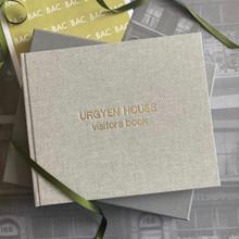Visitor Guest Book - Grey Marl Linen Cloth