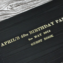 Black Satin Taffeta Wedding Guest Book With Moiré Design