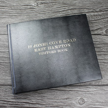 Visitor Guest Book - Antique Silver Mamba Effect Leather