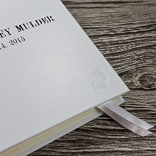 White Leather Baby Memory Record Book - Silver & White