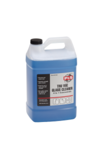 Tru Vue is an excellent and effective water based glass cleaner that removes road film, smoke and dirt. One gallon of Tru Vue makes five gallons of glass cleaner. This simple dilution ratio makes for very easy mixing. Tru Vue is perfect for both hot and cold weather applications with longer working time for hot weather and fast enough evaporation for cold climates (Gals.- 4 per case, 5s, 32s, 55s)