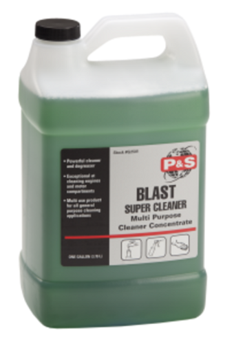 Strong...concentrated...versatile! Blast Super Cleaner works great for all industrial strength cleaning applications. Detergents and water based solvents effectively loosen dirt and grease from engines, wheels, tires, vinyl, carpet and upholstery. Blast may be used full strength on tough applications, or easily diluted with water for lighter cleaning applications. (Gals.- 4 per case, 5s, 32s, 55s)