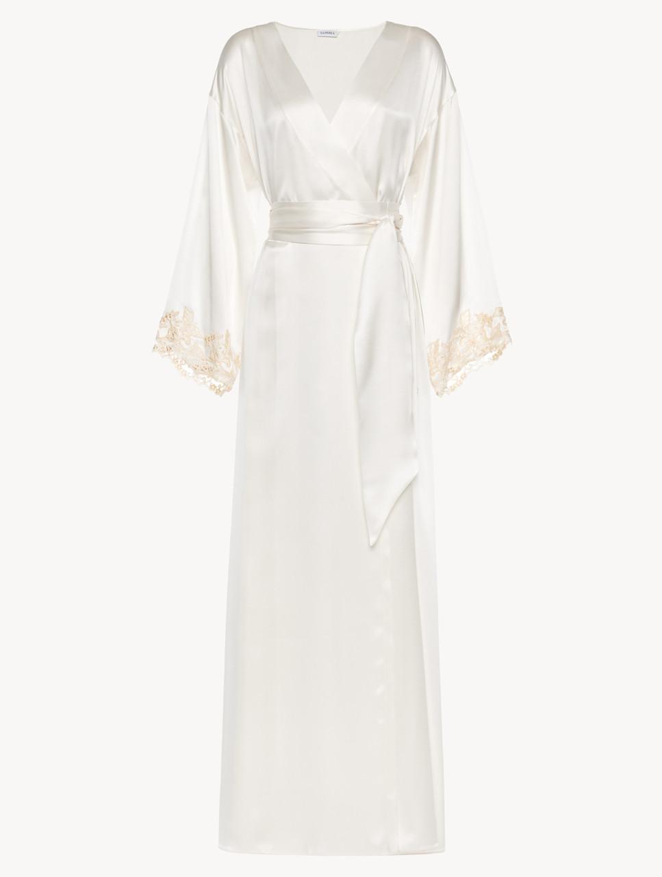 White Long Robe With Frastaglio La Perla Uk