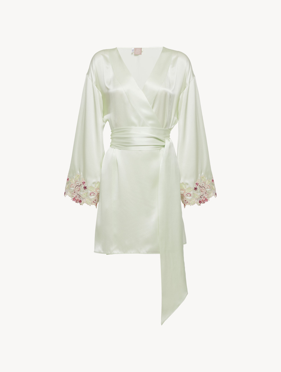 Short Robe In Pale Green Silk With Embroidered Tulle La Perla Uk